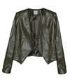Khaki Vegan Leather Gilder Cropped Blazer