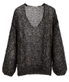 Black Gold Mohair Silk Sequined V-neck Sweater