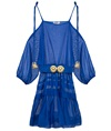 Greek Blue Cotton Silk Ploes Mini Dress