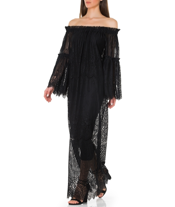 Black Lace Off-shoulder Maxi Dress