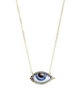 Gold Petit Bleu Diamond Sapphire Necklace  Lito NECKLACES