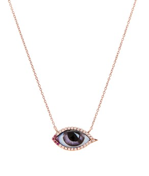 Rose Gold Petit Mauve Diamond Ruby Necklace Lito NECKLACES