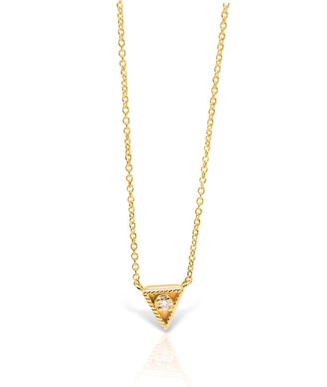 Gold Diamond Triangle Necklace Ilias Lalaounis NECKLACES