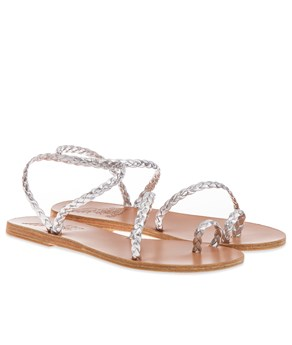 Silver Eleftheria Braided Sandals Ancient Greek Sandals SANDALS