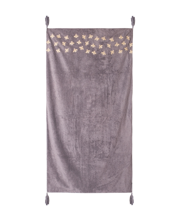 Grey and Gold Bees Beach Towel