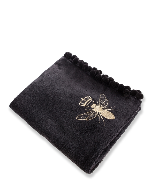 Black and Gold Queen Bee Pom Pom Beach Towel