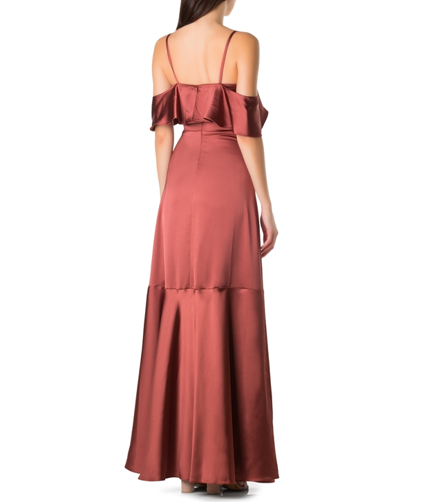 Terracotta Cold-Shoulder Ruffled Maxi Satin Dress