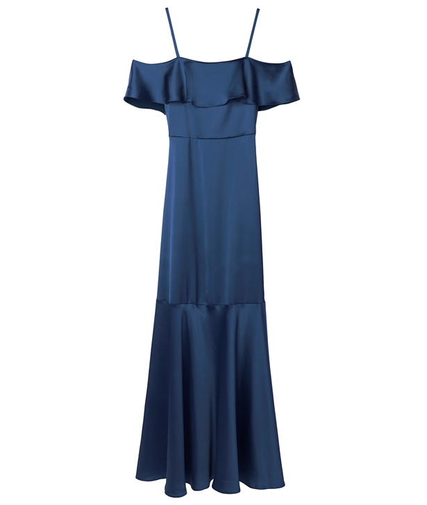 Midnight Blue Cold-Shoulder Ruffled Maxi Satin Dress