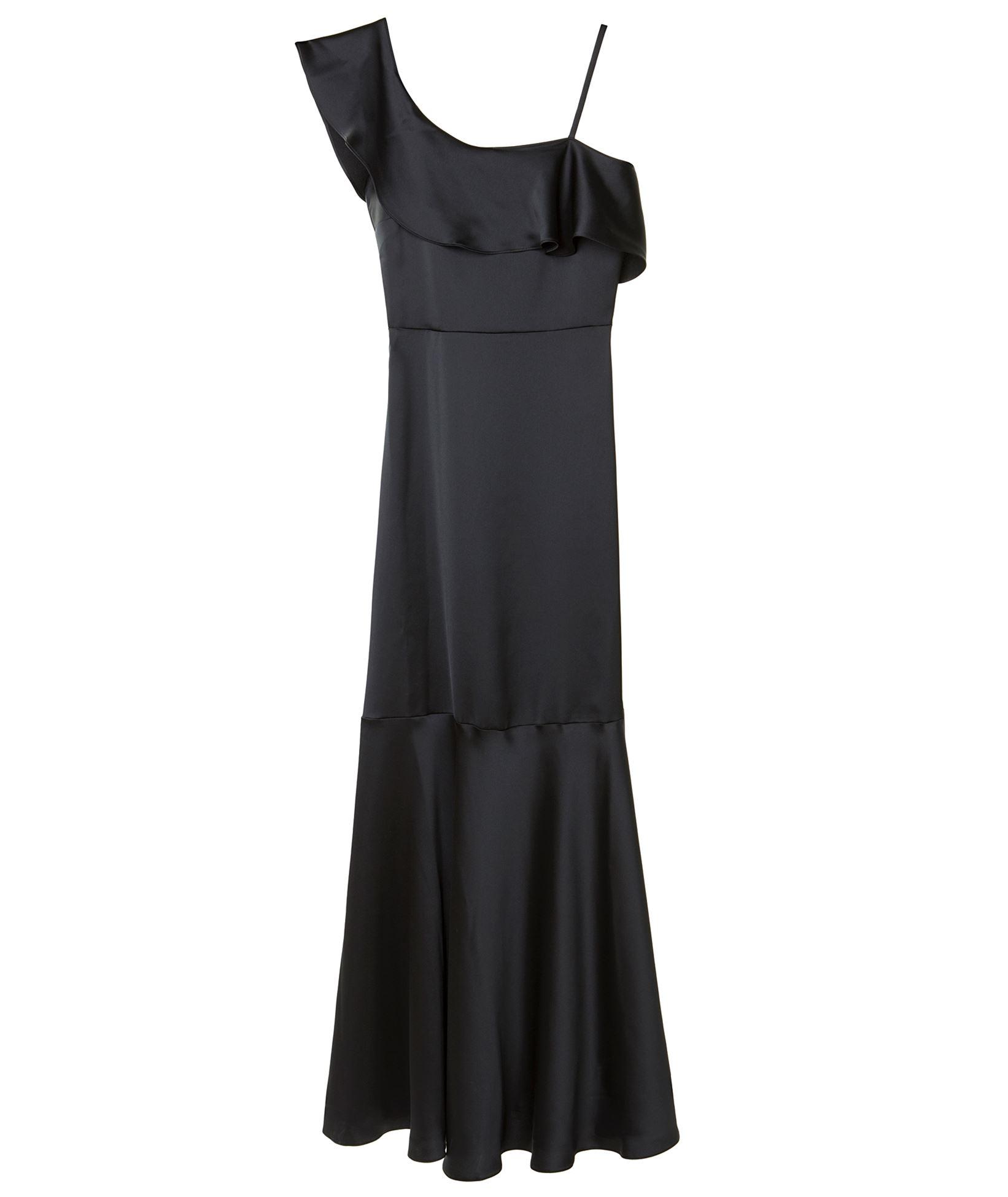 3151c9ed3c8 Mi-Ro Black Satin Asymmetric Ruffled Dress   Nightout