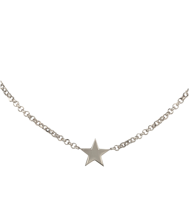 Black Rhodium plated Silver Star Choker Necklace