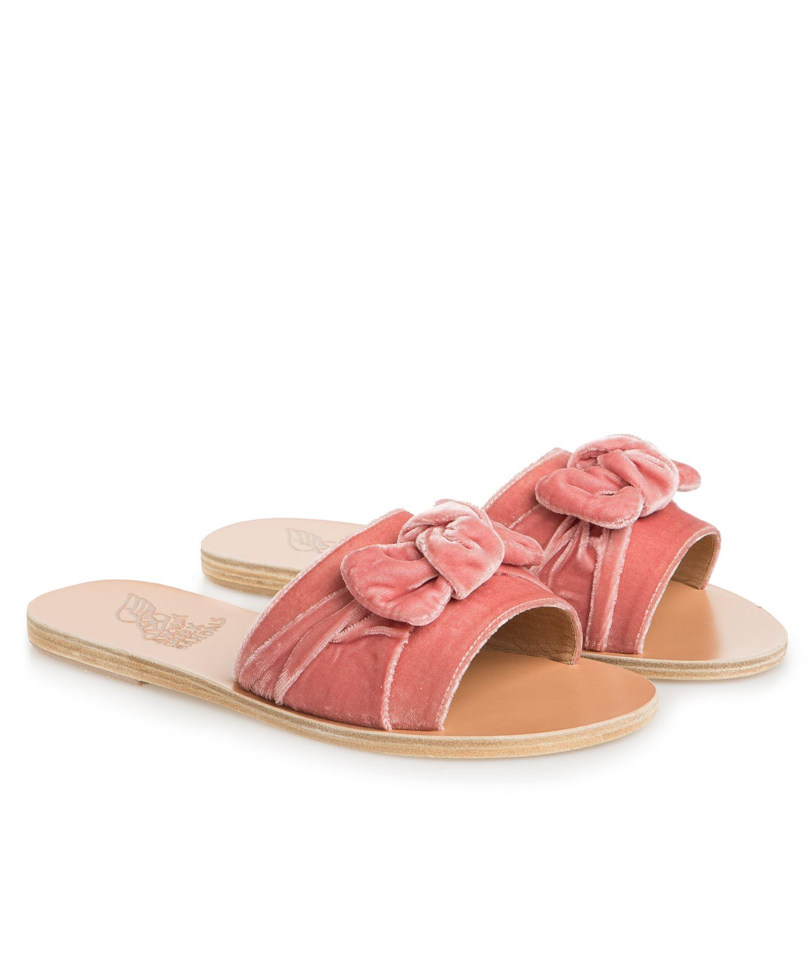 0ad20b420b07 Ancient Greek Sandals Dusty Rose Velvet Bow Taygete Slides ...