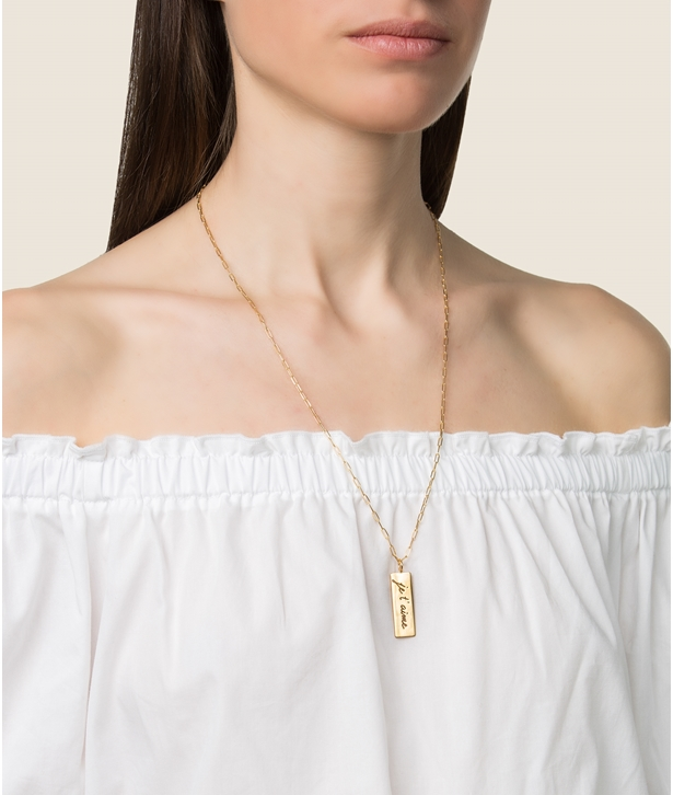 Gold-plated Silver Je t' aime Charm Necklace