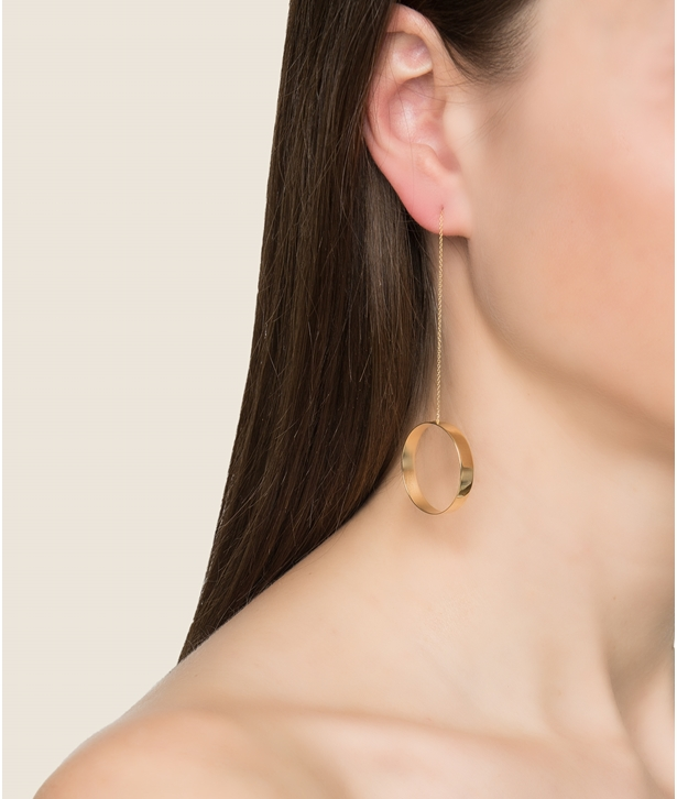 Circular Gold-plated Silver Earrings