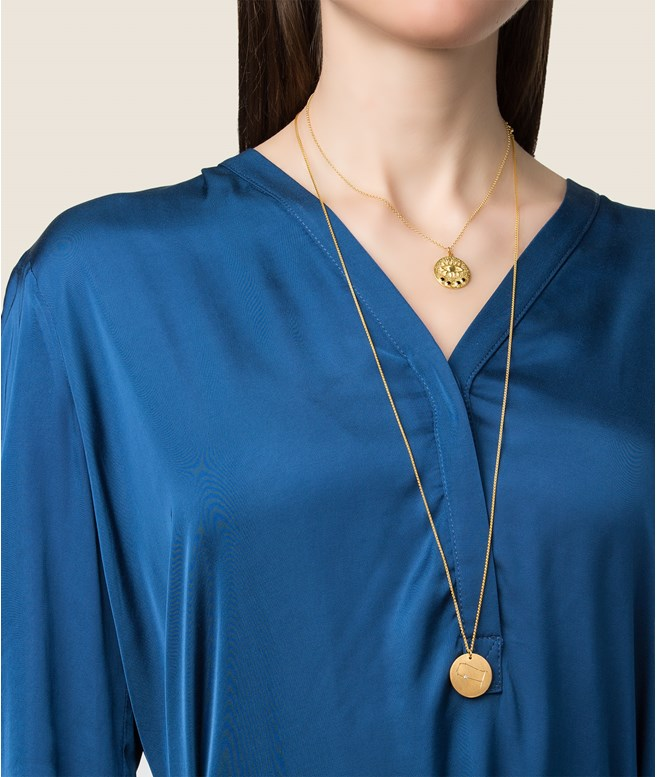 Kressida Small Medallion Gold-plated Silver Black Necklace  Hermina Athens NECKLACES