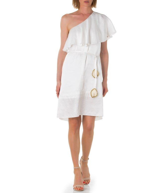 White Silk One Shoulder Ruffled Dress Tunica Stola SALE