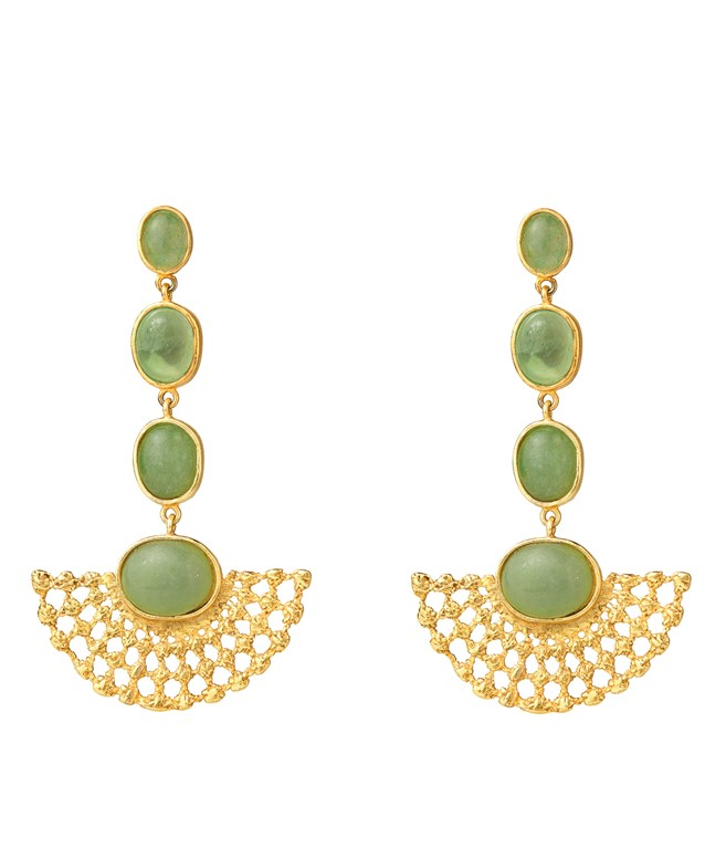 Stella Aventurine Gold-Plated Earrings Elena Kougianou EARRINGS