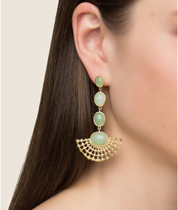 Stella Aventurine Gold-Plated Earrings