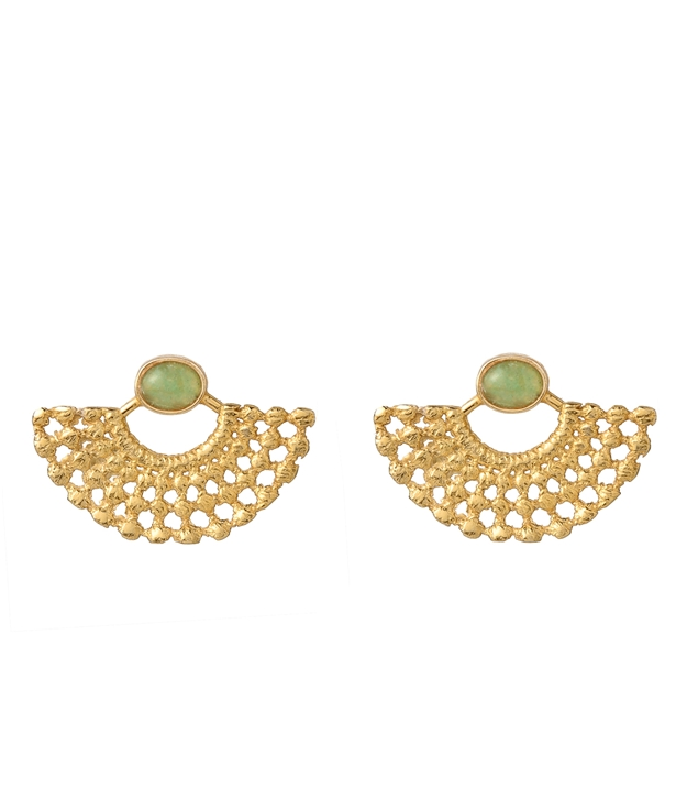 Lydia Aventurine Gold-Plated Earrings
