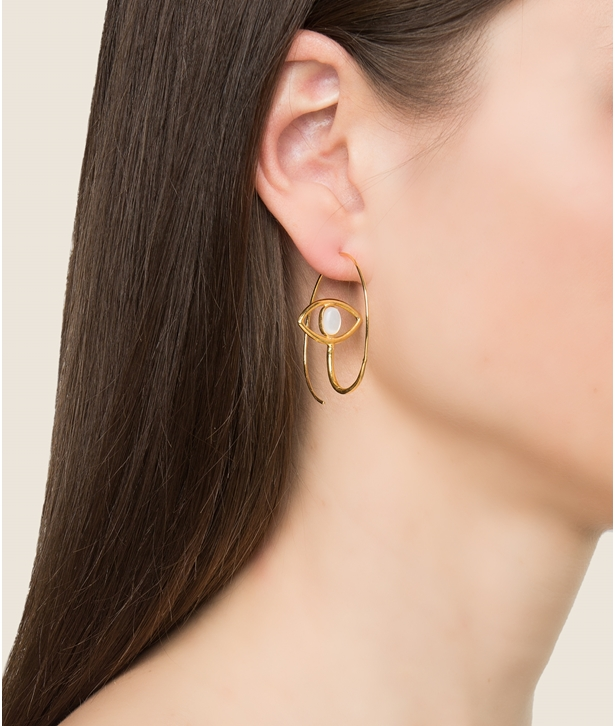 Eye Loop Pearl Gold-Plated Hoop Earrings