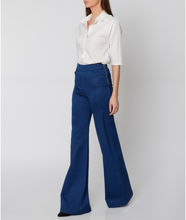 Blue Denim Wide Leg Pants
