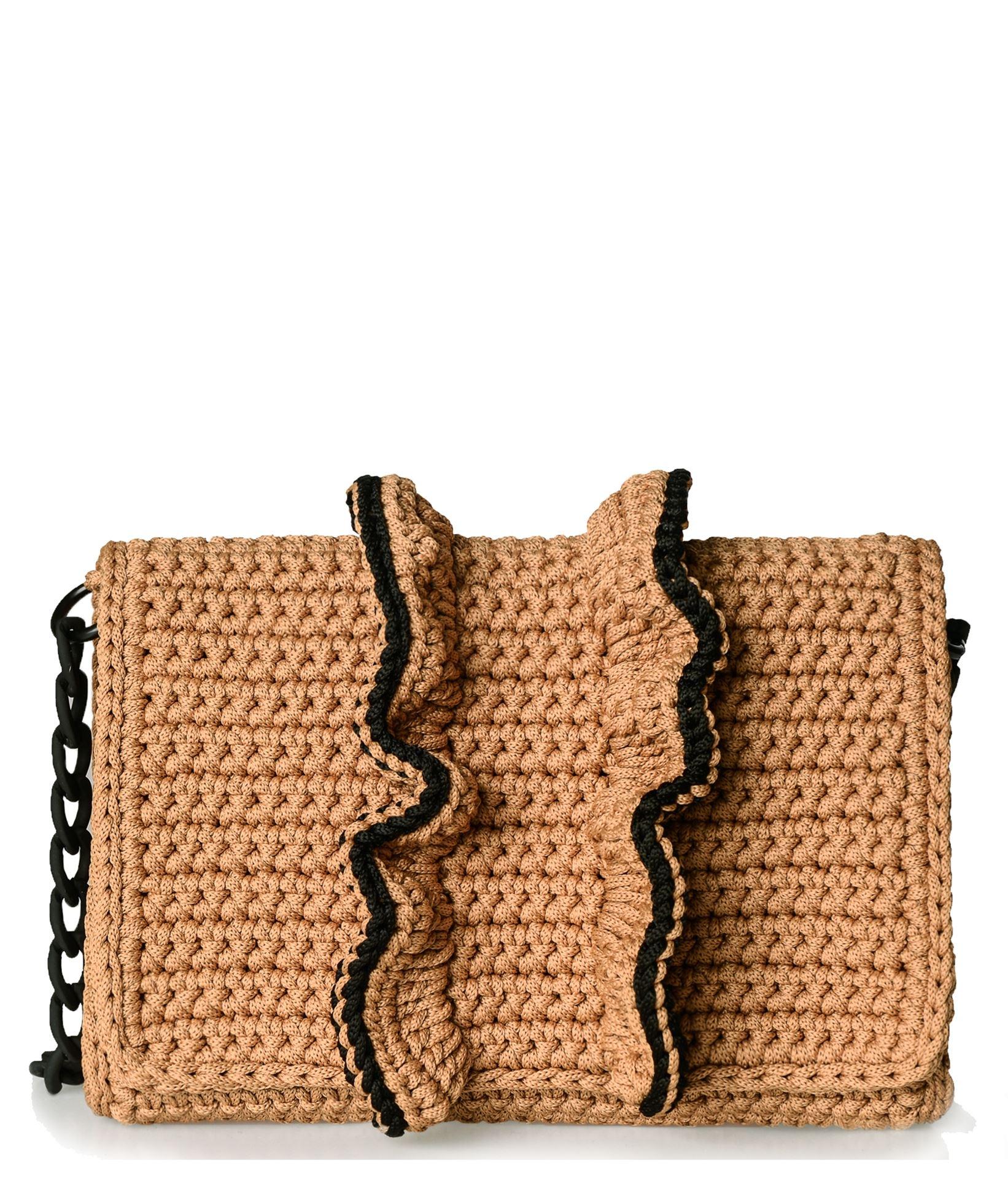 One Only Caramel Black Passion Crochet Medium Bag Summer Bags
