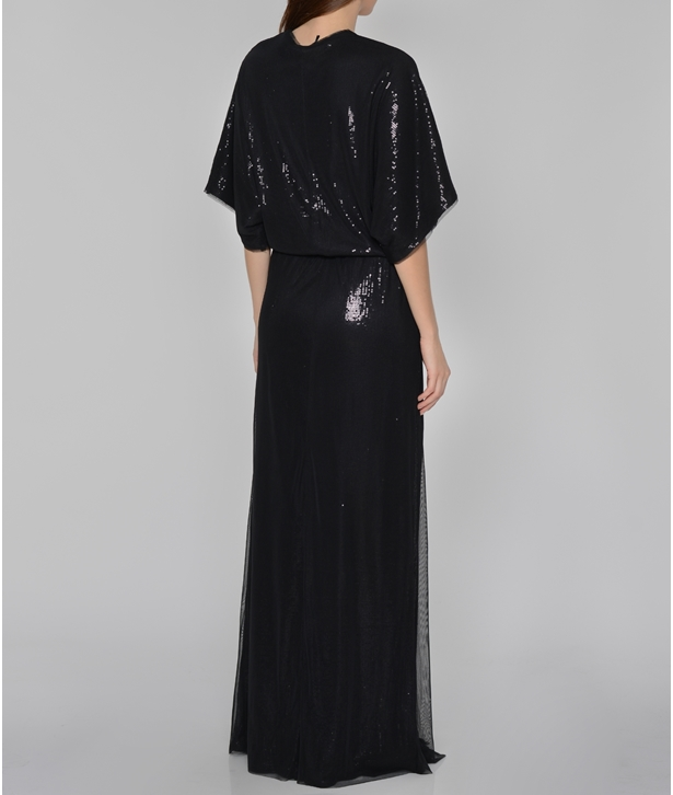 Black Sequined Wrap Long Dress