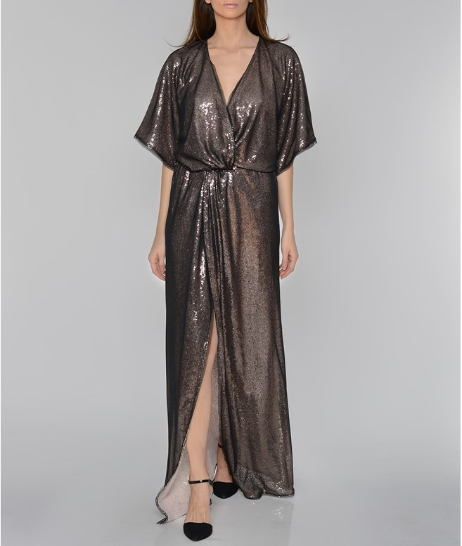 Bronze Sequined Wrap Long Dress Mi-Ro DRESSES