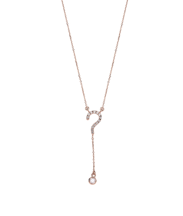 Rose gold-plated Silver Questionmark Necklace
