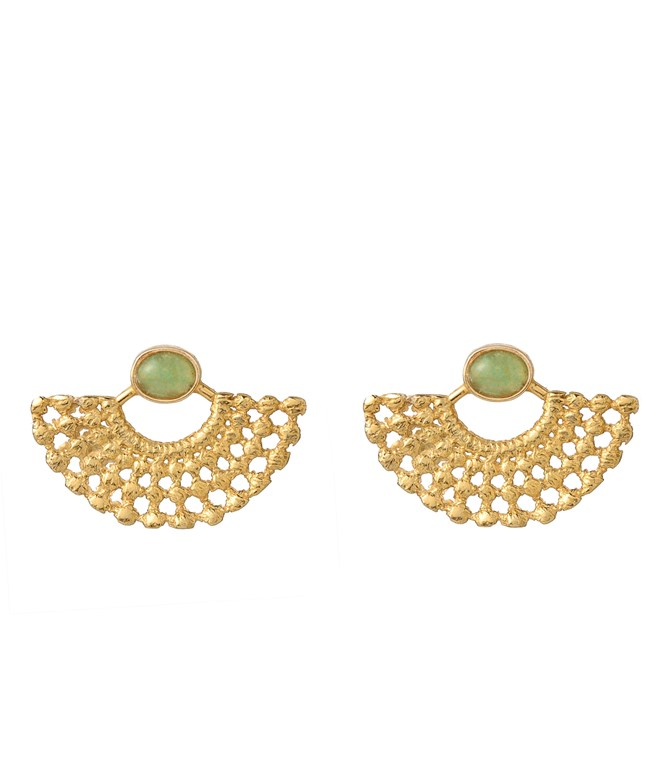 Lydia Aventurine Gold-Plated Earrings Elena Kougianou EARRINGS