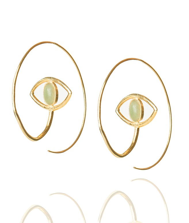 Eye Loop Aventurine Gold-Plated Hoop Earrings Elena Kougianou EARRINGS