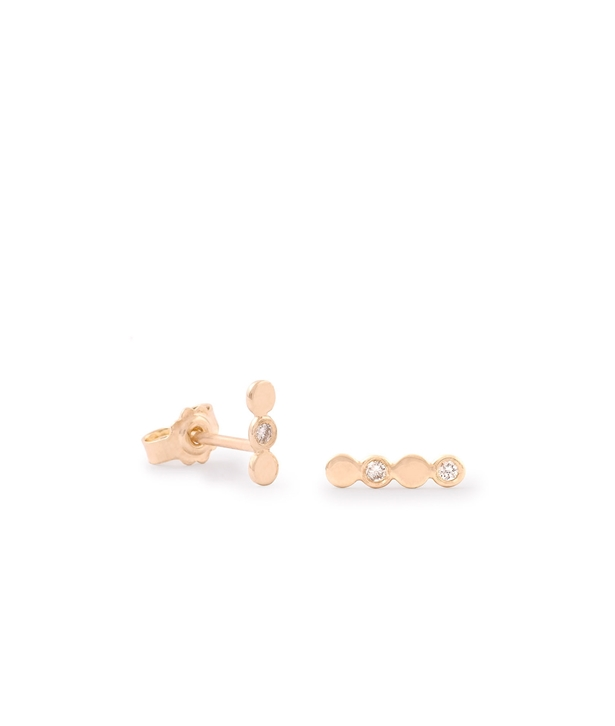 Gold Drops White Diamonds Stud Earrings
