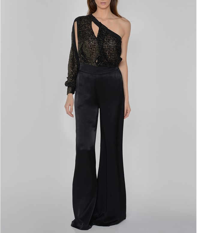 Black Satin Wide Leg Pants Ioanna Kourbela PANTS/SHORTS