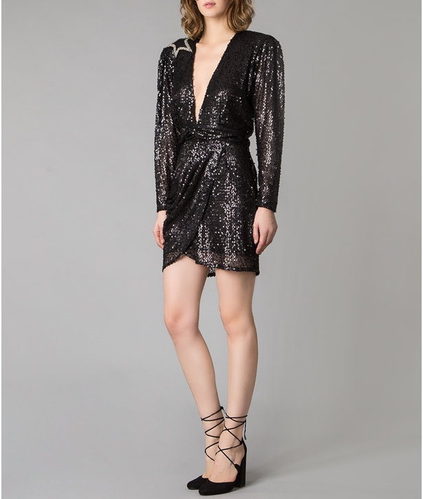 Black Sequined Sleeved Embellished Star Dress