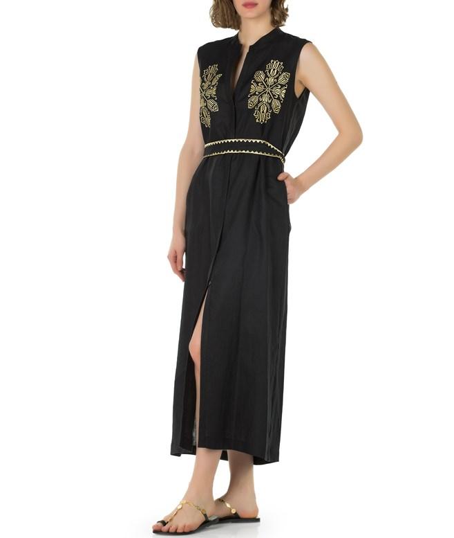 078893375c5 Ancient Kallos · Black Gold Dareia Linen Embroidered Sleeveless Dress