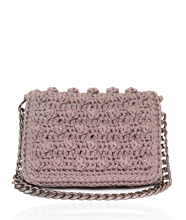 Lilac Metallic Bubble Crochet Bag