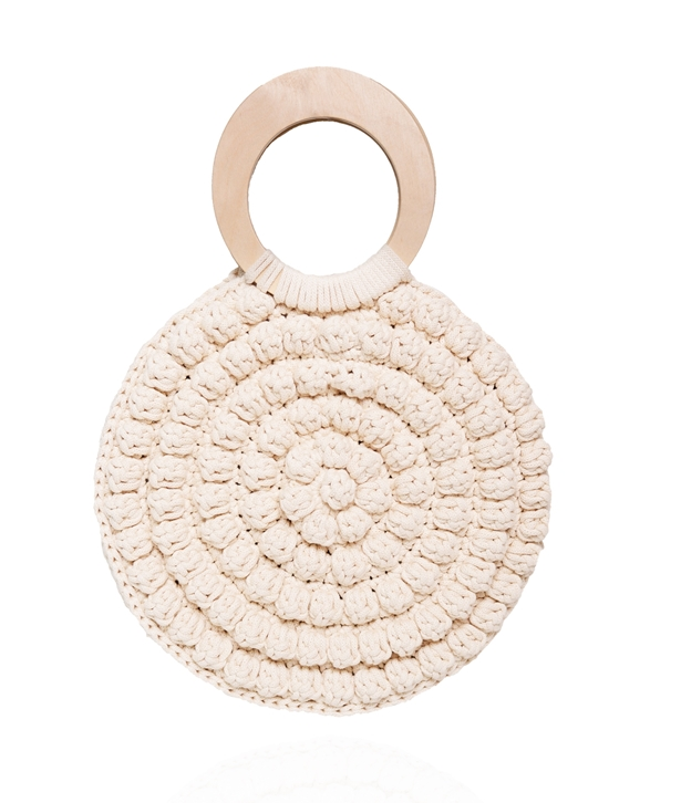 Ivory Round Wooden Ring Bubble Bag