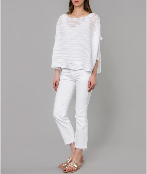 White Knitted Cotton Archetypes Cropped Top