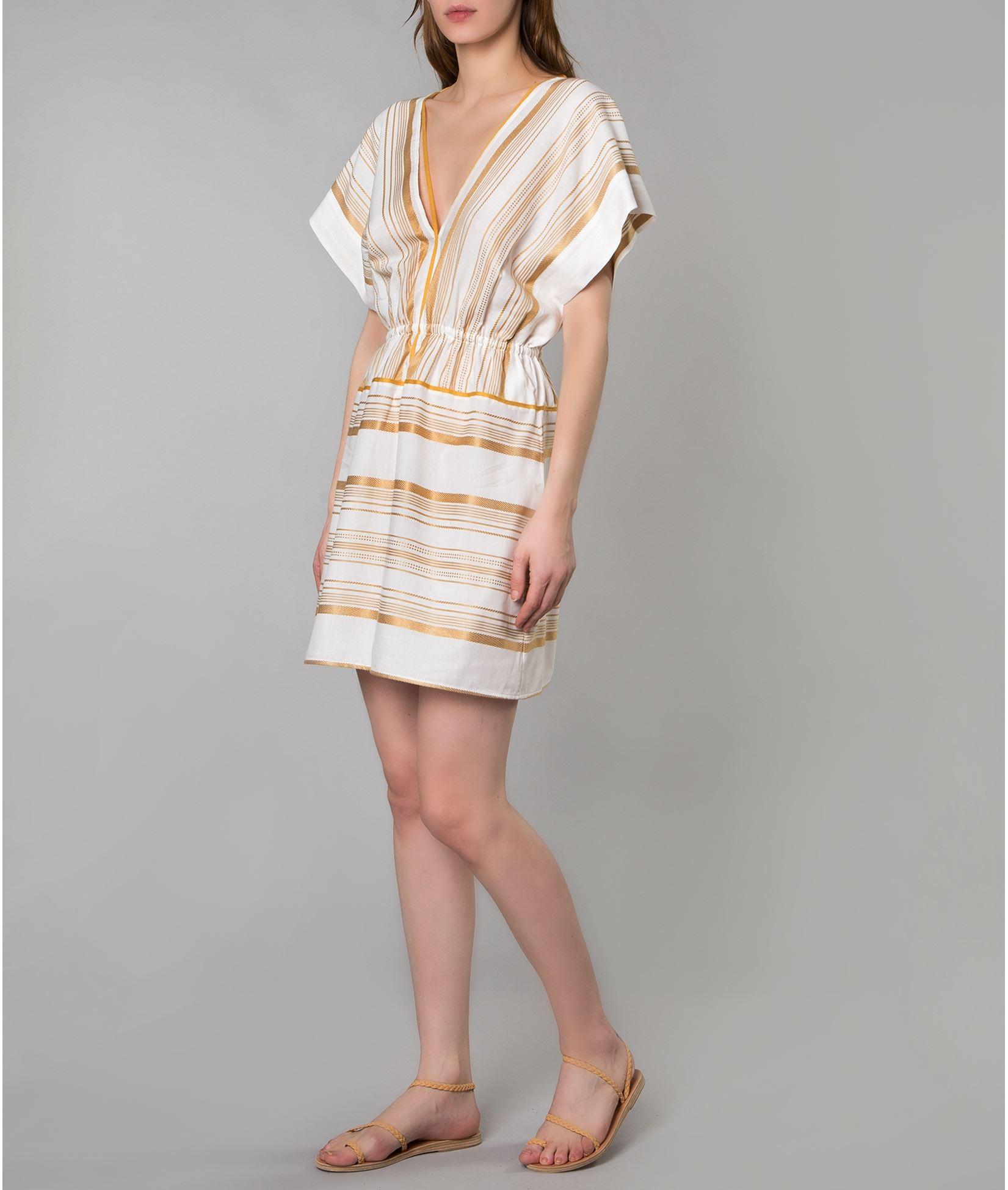 348495e8df14 Ioanna Kourbela Gold White Striped Mini Dress   ΦΟΡΕΜΑΤΑ ΠΑΡΑΛΙΑΣ ...