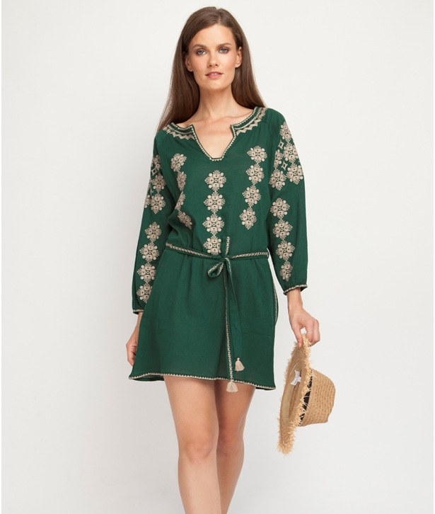 Emerald Gold Embroidered Artemis Cotton Dress
