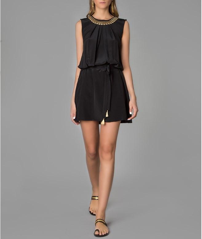 53ed53bb9ef Etoile Coral · Black Gold Embroidered Erato Silk Dress