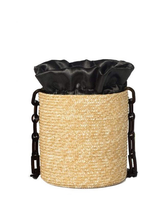 Raffia Bucket Black Satin Pouch Black Long Handle Hermina Athens SHOULDER BAGS