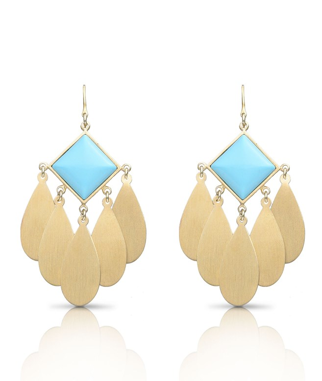 Gold Pleiones Turquoise Stone Earrings Antonia Karra EARRINGS
