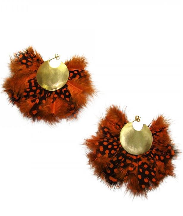 Orange Feathers Hoops