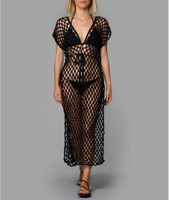 Black Metallic Triangle Net Dress  Sadh KAFTANS/COVERUPS