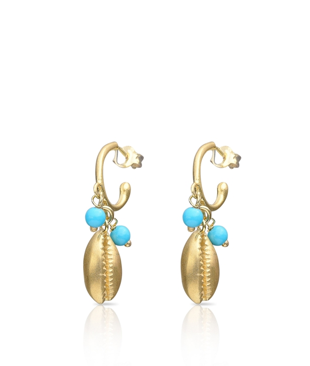 Gold Turquoise Cowrie Earrings