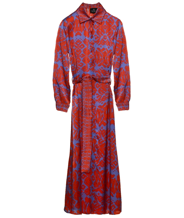 Red and Blue Long Silk Dress