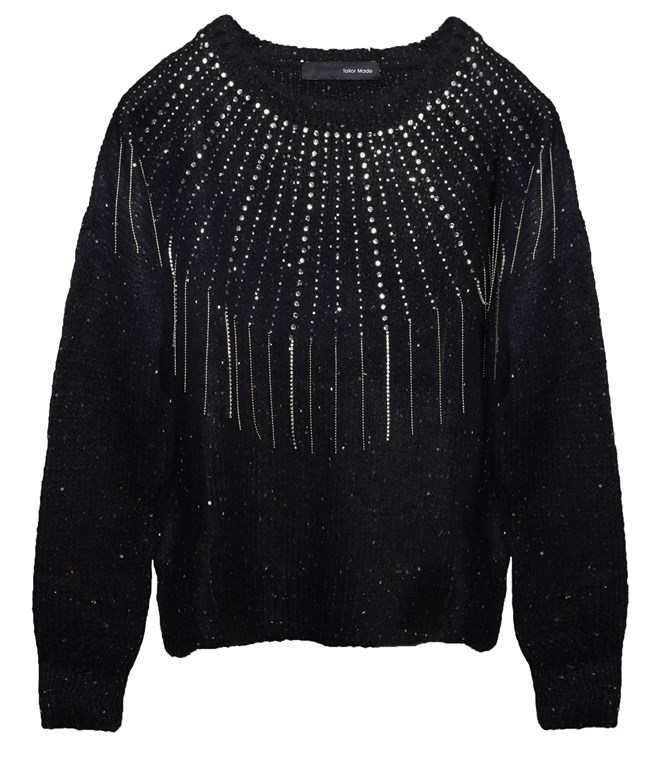 Black Knitted Bejeweled Sweater Tailor Made ΠΛΕΚΤΑ