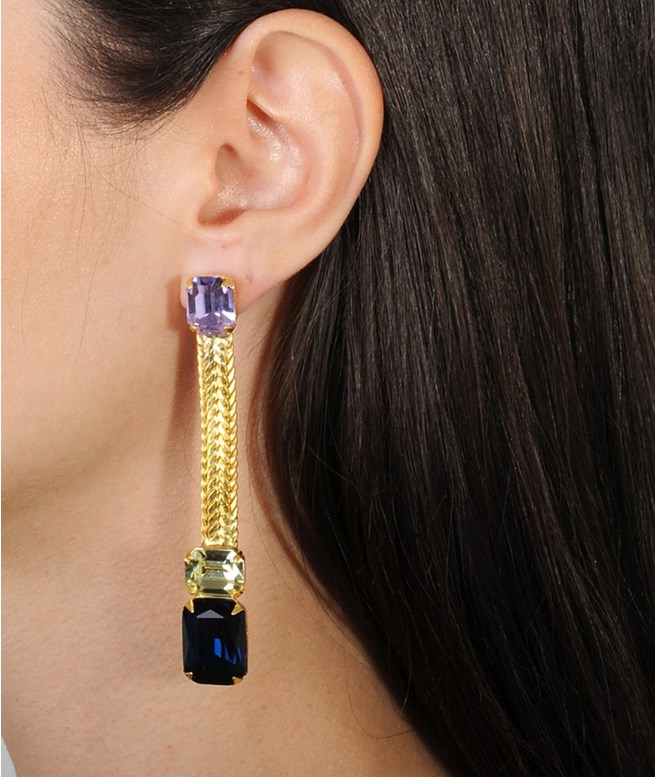 Alina Blue and Yellow Crystals Dangle Earrings Katerina Psoma EARRINGS