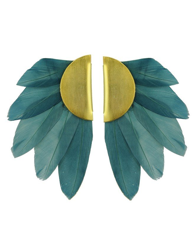 Petrol Artemis Feather Clip Earrings Katerina Psoma ΣΚΟΥΛΑΡΙΚΙΑ