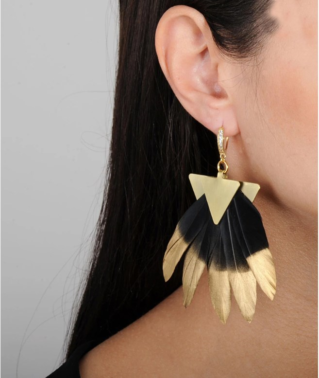 Black and Gold Artemis Feather Earrings Katerina Psoma ΣΚΟΥΛΑΡΙΚΙΑ
